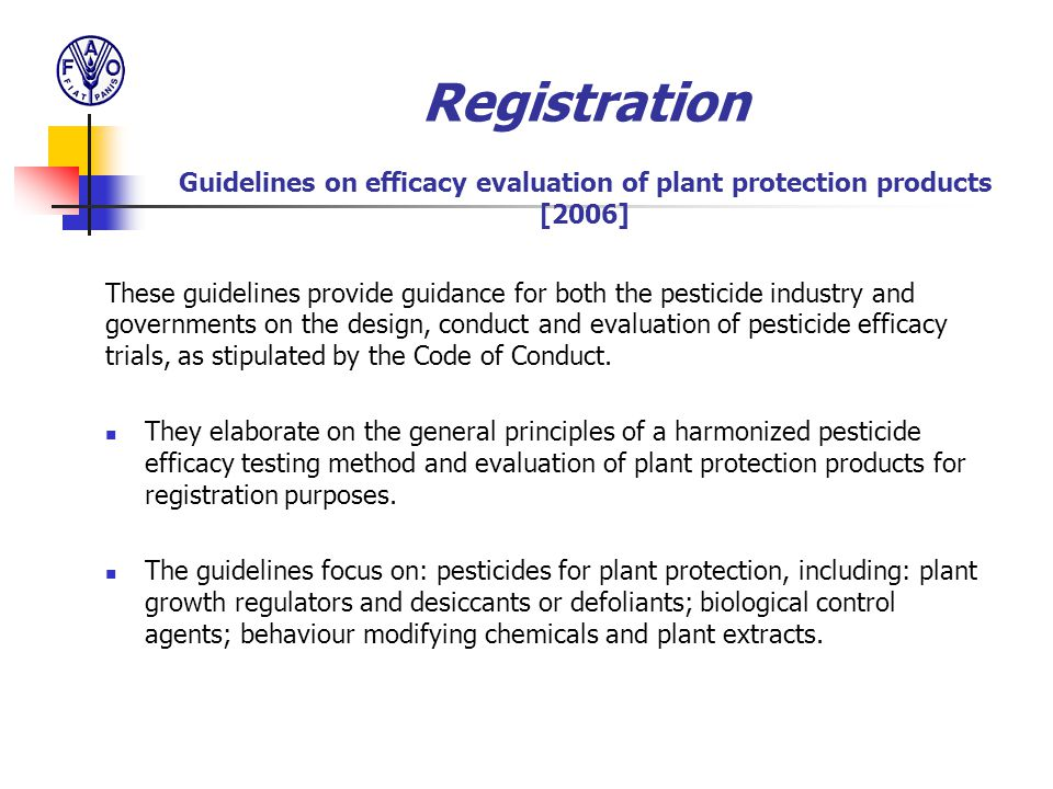 Registration Guidelines on efficacy evaluation of plant protection products [2006]